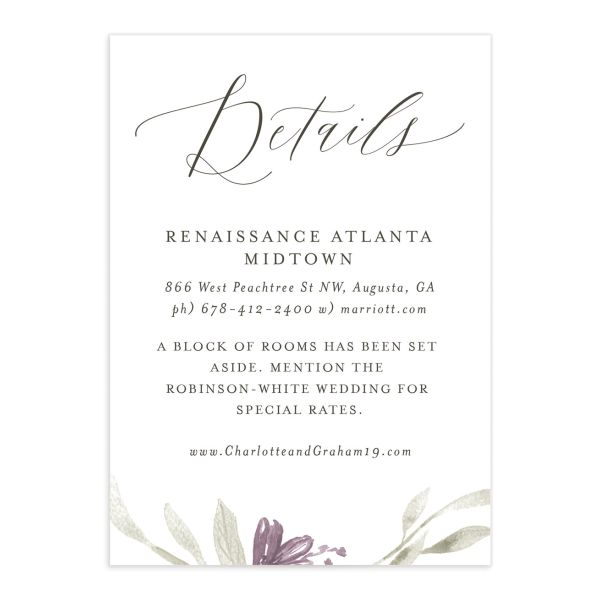 muted floral wedding enclosure cards in purple