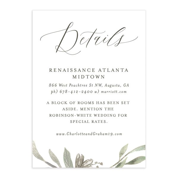 muted floral wedding enclosure cards in white