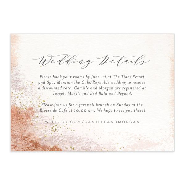 organic luxe wedding enclosure cards in peach