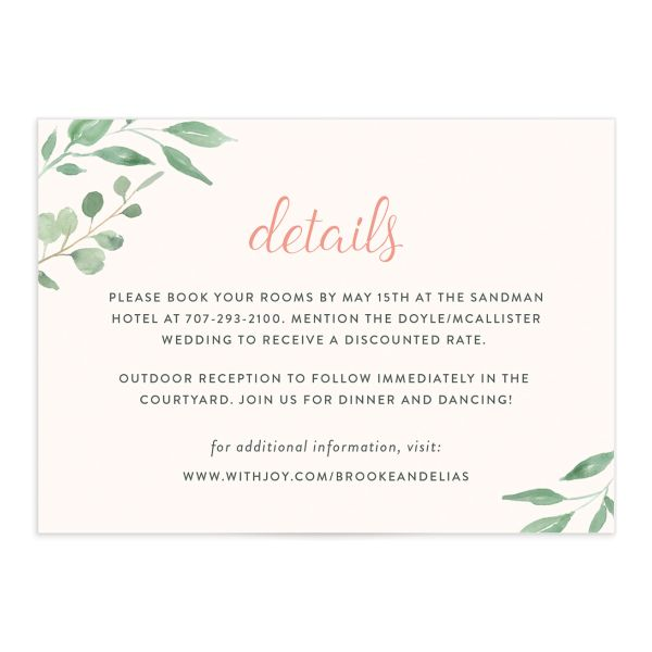 Romantic Floral Wedding Details Cards