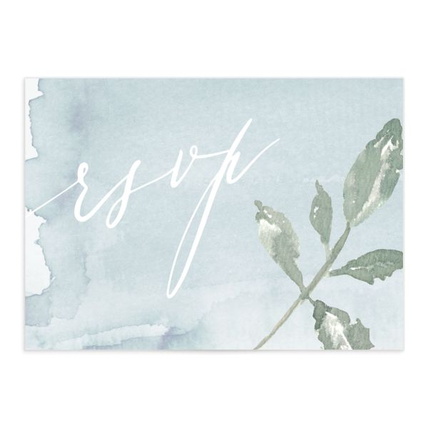 Dusted Calligraphy RSVP cards in blue merch