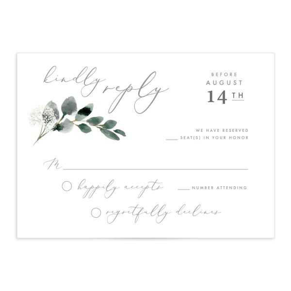 Elegant greenery rsvp card