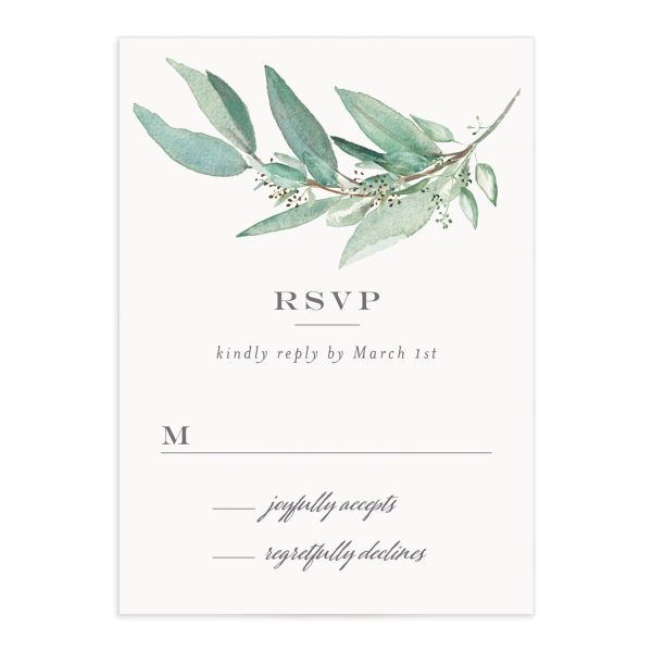 Lush Greenery RSVP card front