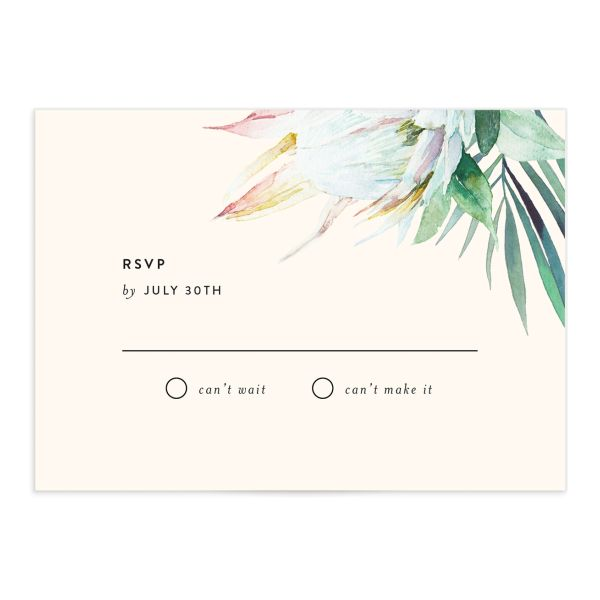 Palm and Protea Wedding Response Cards front