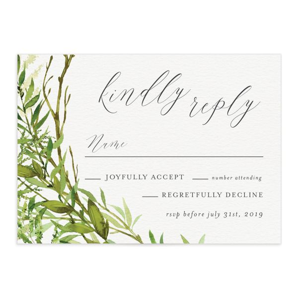 Watercolor Greenery wedding reply card front