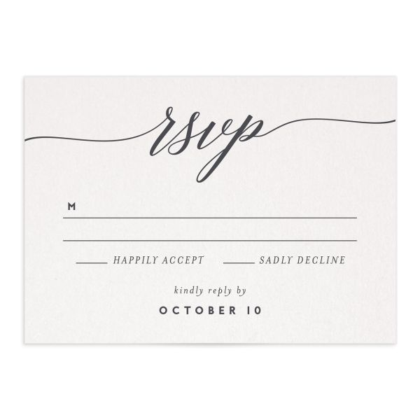 We Do wedding response cards in grey