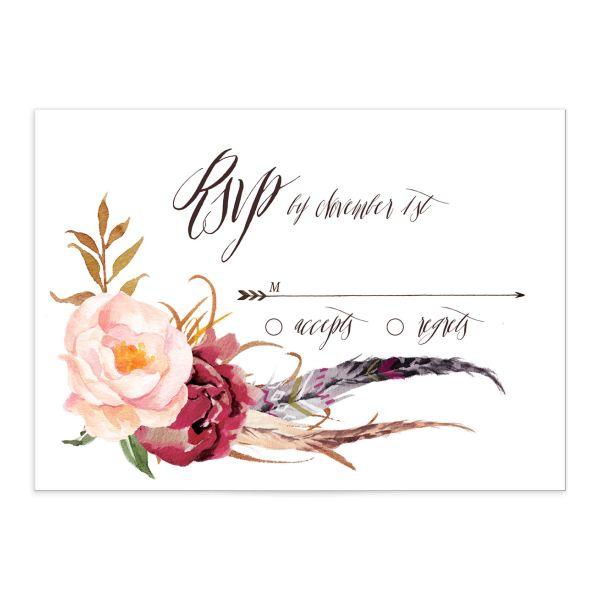 bohemian floral wedding rsvp cards in burgundy
