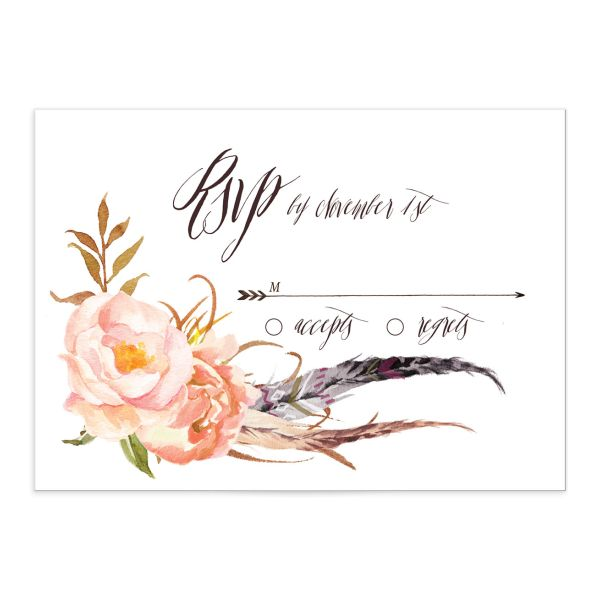 bohemian floral wedding rsvp cards in peach