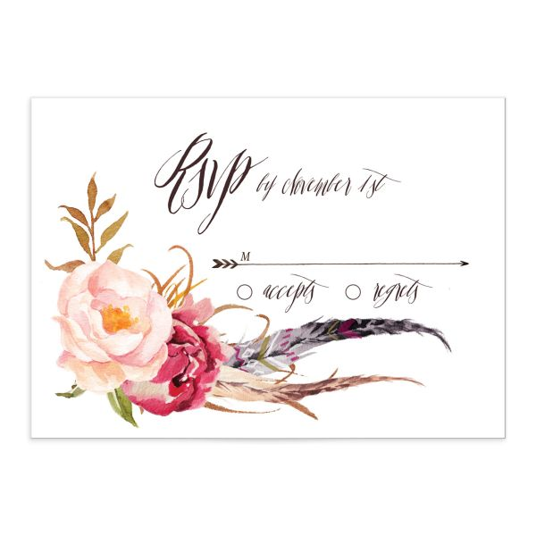 bohemian floral wedding rsvp cards in pink