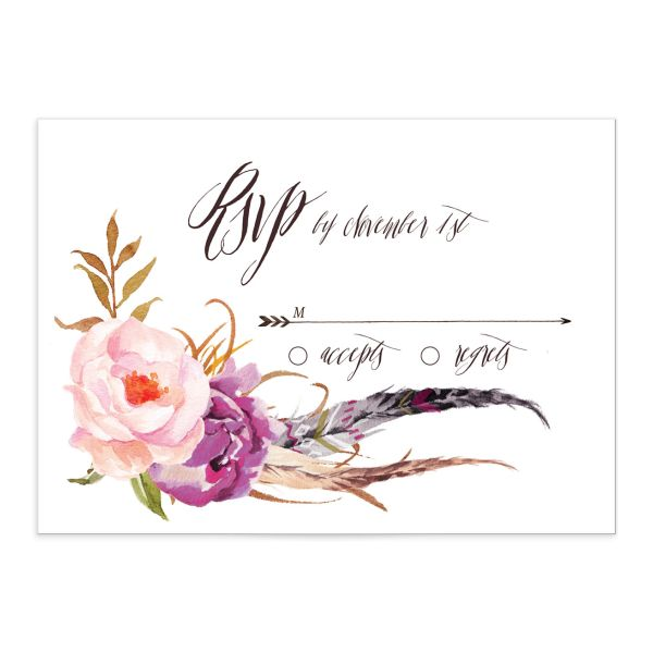 bohemian floral wedding rsvp cards in purple