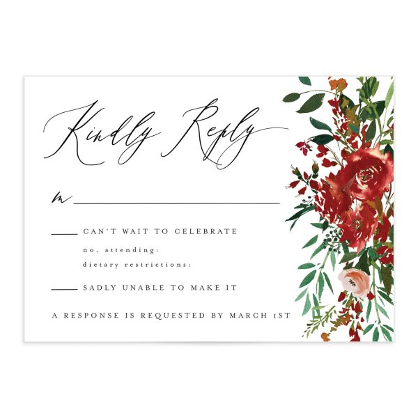 Cascading Altar wedding response cards in burgundy