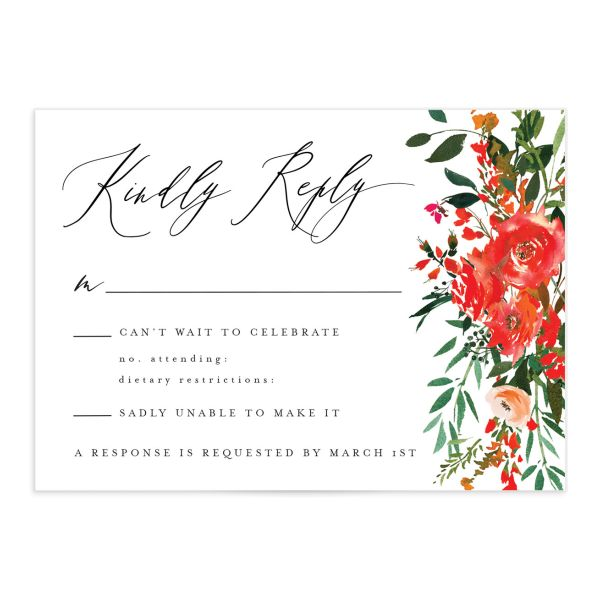 Cascading Altar wedding response cards in bright red