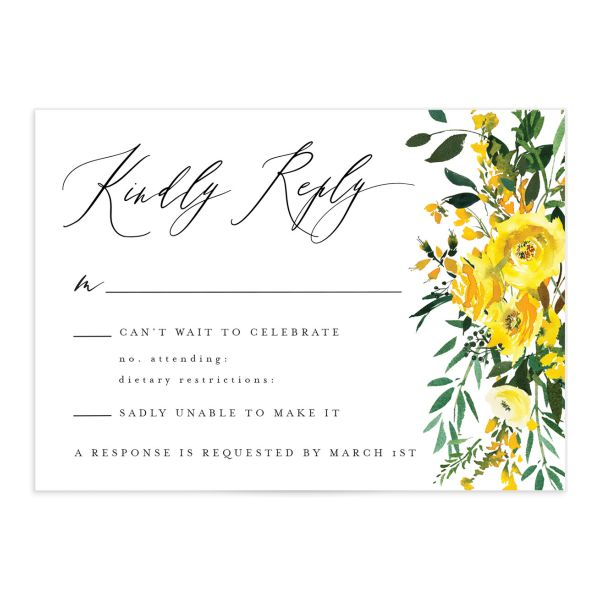 Cascading Altar wedding response cards in yellow