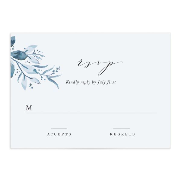 classic greenery wedding RSVP cards in blue