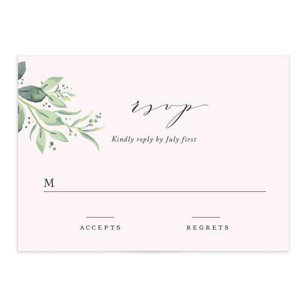 classic greenery wedding RSVP cards in pink