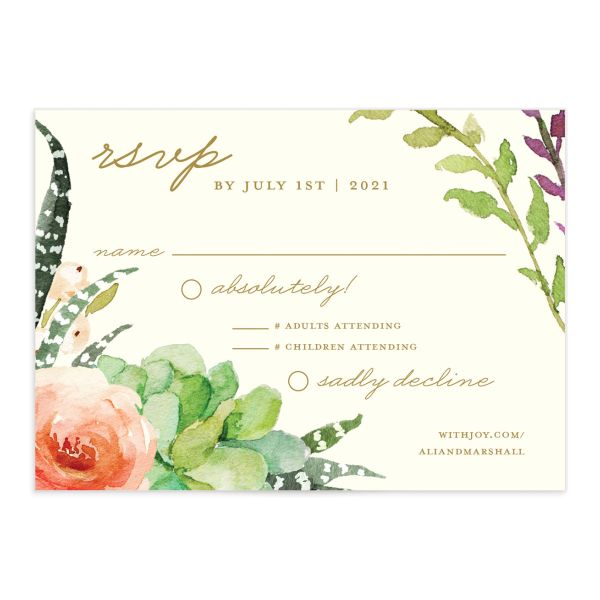 Elegant Oasis Wedding Response cards front