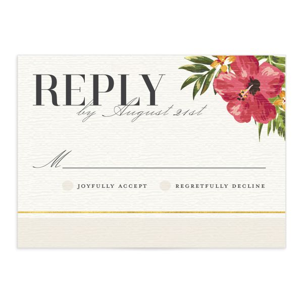 elegant paradise wedding response cards in white