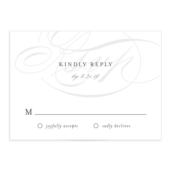 elegantly initialed wedding RSVP cards