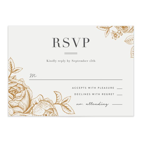etched botanical wedding rsvp cards