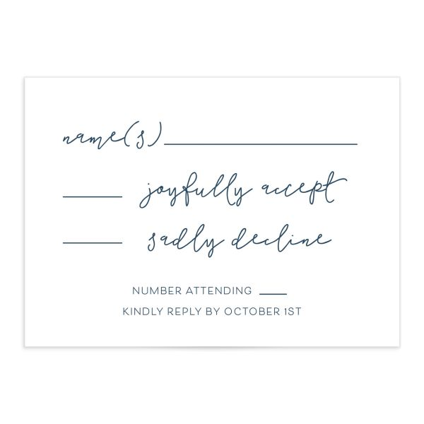 Gold Calligraphy Wedding Response Cards in blue front