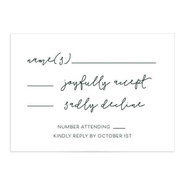 Gold Calligraphy Wedding Response Cards in green front