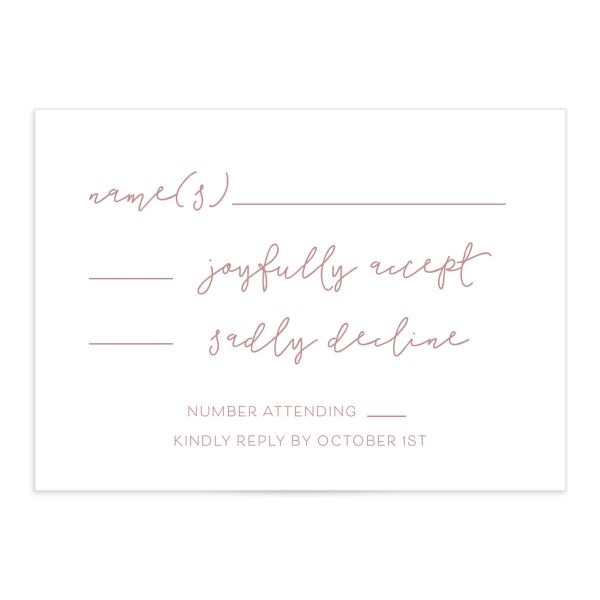 Gold Calligraphy Wedding Response Cards in pink front
