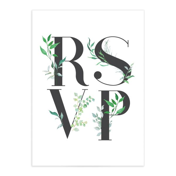 leafy ampersand wedding rsvp card in green