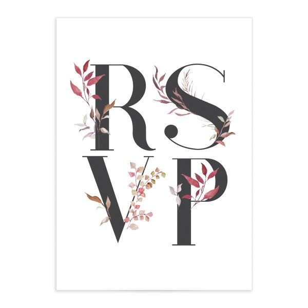 leafy ampersand wedding rsvp card in purple