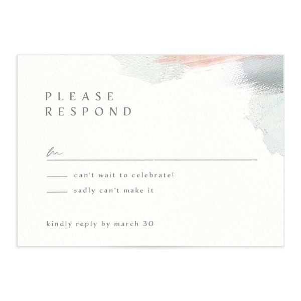 Minimal Brush RSVP card green front