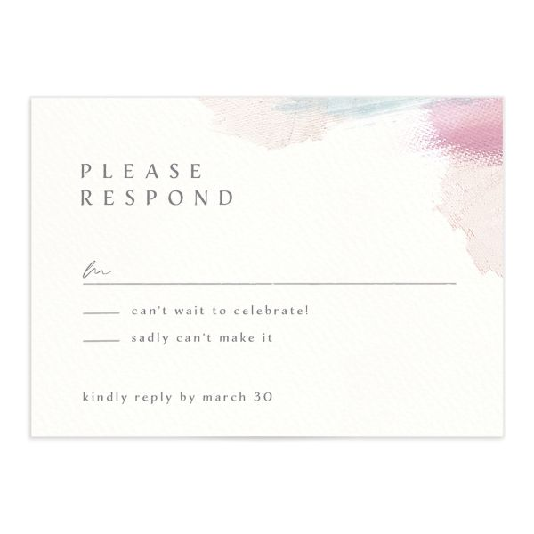 Minimal Brush RSVP card pink front