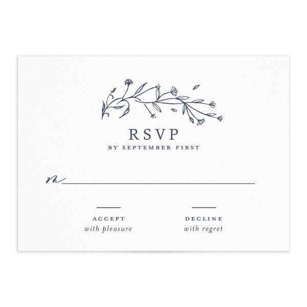 Natural Monogram wedding RSVP in blue closeup