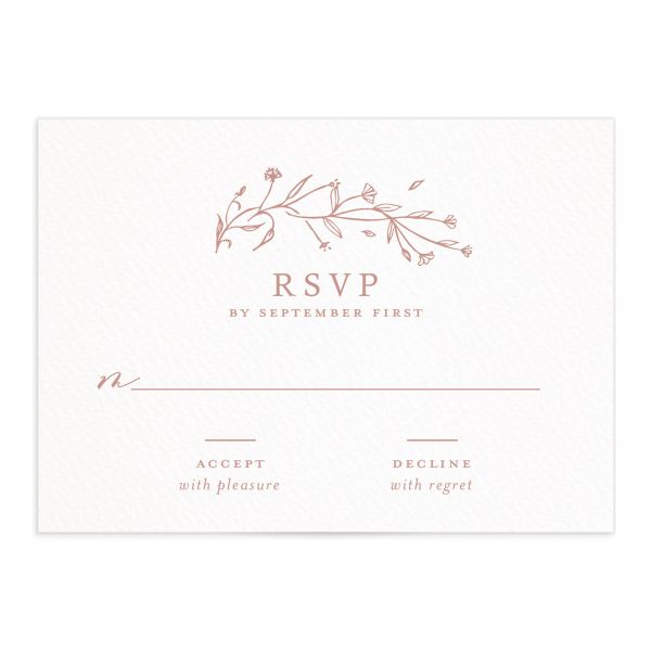 Natural Monogram wedding RSVP in pink closeup