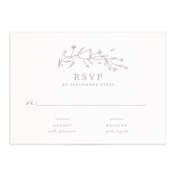 Natural Monogram wedding RSVP in purple closeup