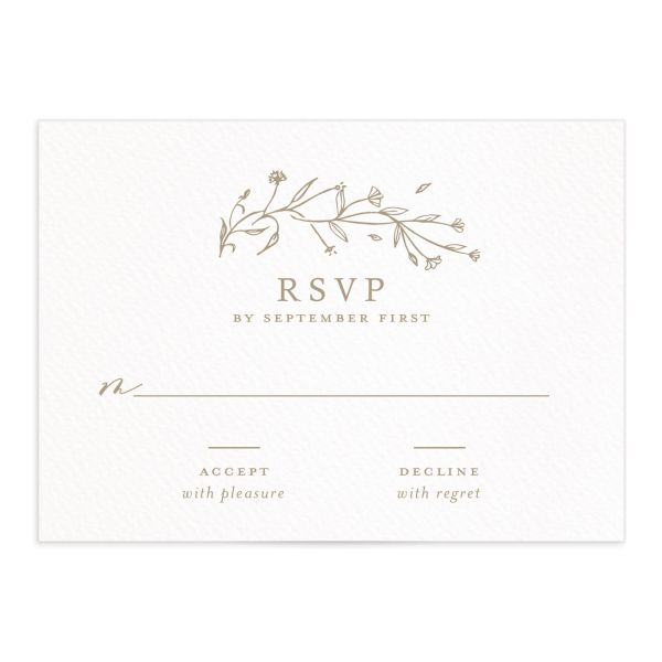 Natural Monogram wedding RSVP in tan closeup