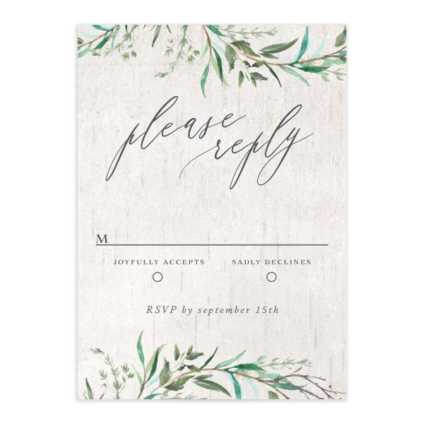 Natural Laurel RSVP card
