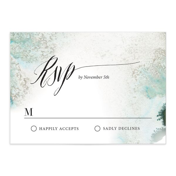 painted ethereal wedding rsvp cards in green