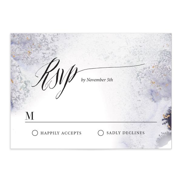 painted ethereal wedding rsvp cards in purple