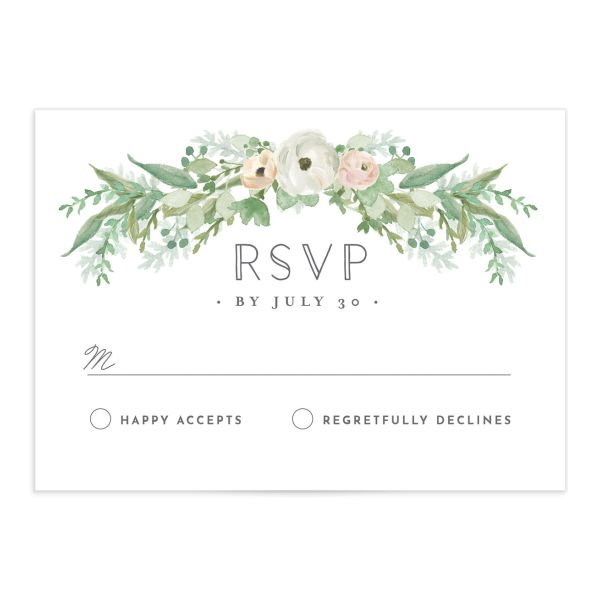 Romantic Garland Wedding RSVP card front