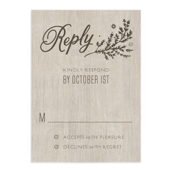 rustic chic wedding rsvp cards in gold