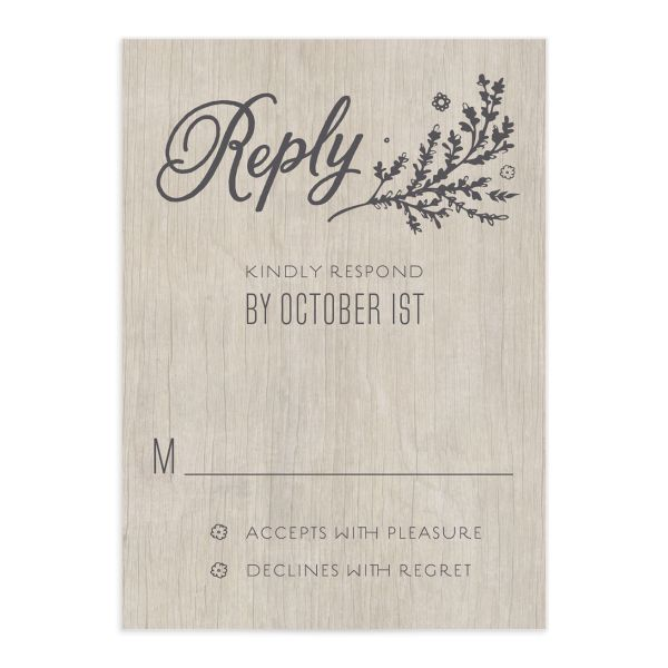 rustic chic wedding rsvp cards in grey