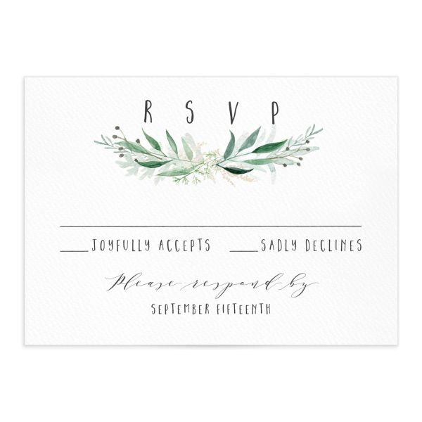 Rustic Wreath Wedding RSVPs front