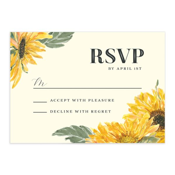 sunflower wedding RSVP cards