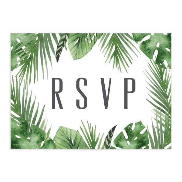 Tropical Leaves RSVP card