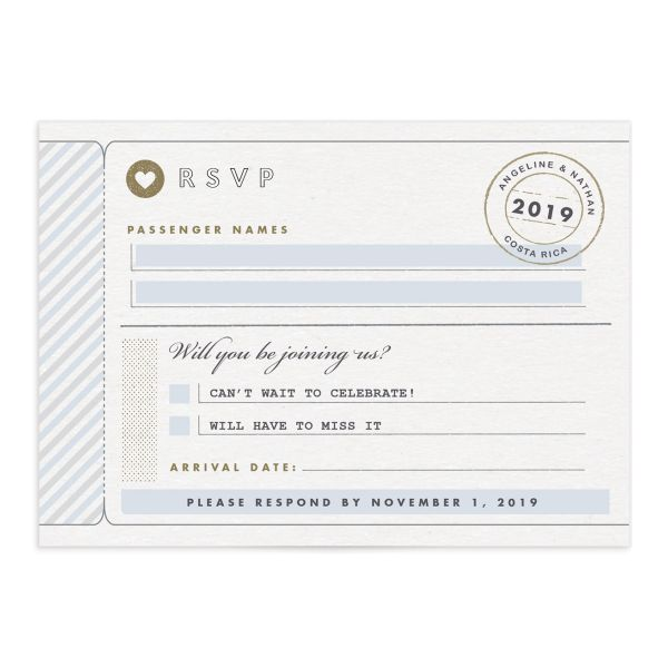 Vintage Boarding Pass RSVP card front blue
