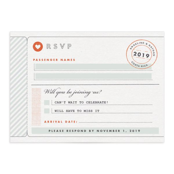 Vintage Boarding Pass RSVP card front green