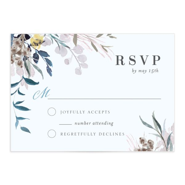 wild wreath wedding RSVP cards in blue
