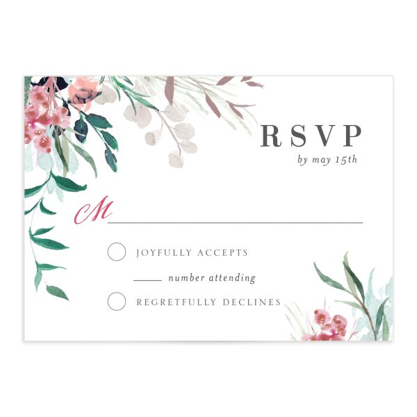 wild wreath wedding rsvp cards in green