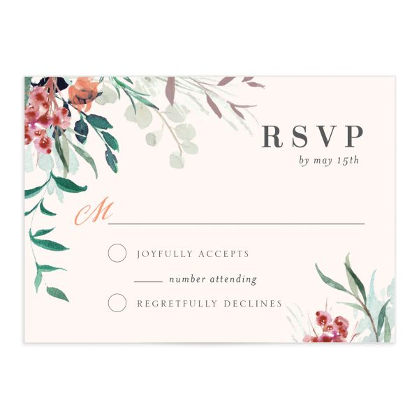 wild wreath wedding rsvp cards
