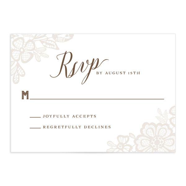Woodgrain Lace Wedding Response Cards