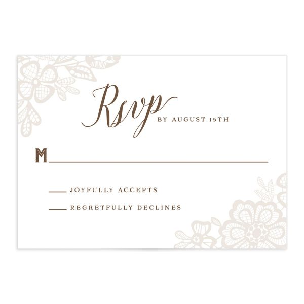 Woodgrain Lace RSVP card